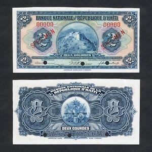 1919 HAITI 2 GOURDES P-161s aUNC ABOUT UNC> > > >HENRY CITADEL AMRS SPECIMEN NR