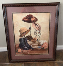 Homco Vintage Hat Stand Boots Picture By J. Gibson Home Interiors Framed Europe