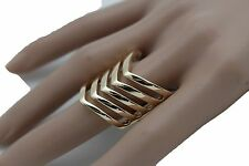 Elastic Band Chevron Stripes Classic Style Women Gold Metal Ring Fashion Jewelry