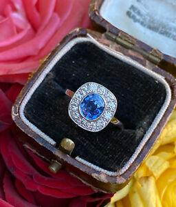 Victorian Sapphire and Diamond Cluster Platinum Ring 1.60ct + 2.02ct