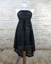 Jesse & J Strapless Black Floral Lace Nude Lined High Low Empire Waist Dress S