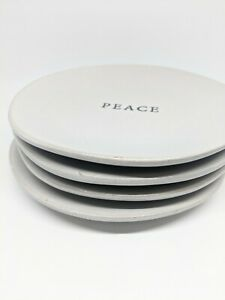 Hearth and Hand Magnolia - 4 Pack White Holiday Appetizer Plate Set Stoneware