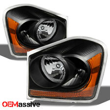 04-05 Dodge Durango Black Replacement Headlights Headlamps Left+Right 2004-2005
