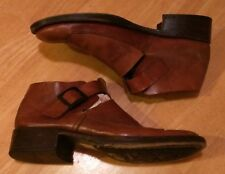 AKETOHN BROWN LEATHER BUCKLE BOOTS 43 9 Made in ITALY Mod Hipster VTG