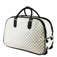 New Inspired Cabin Approved Trolley Hand Luggage Holdall Suitcase Bag Checkered