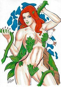 """Poison Ivy (09""""x12"""") original and unique 1/1 comic art by Alan Menezes"""