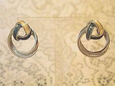 SILVER TONE DOUBLE RING DANGLE PIERCED EARRINGS WI BLUE & CREAM GLIMMER ACCENTS