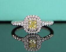 $6,400 Tiffany & Co Soleste Cushion Fancy Intense Yellow Diamond Engagement Ring