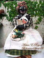Arturo E.Reyna Primitive FOlK ART Black Americana Style SIGNED RAG DOLL& BABIES