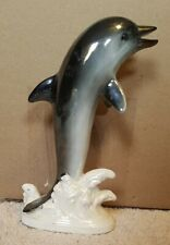 Vintage Porcelain Dolphin, Porpoise Jumping Out Of The Water, Made In Japan