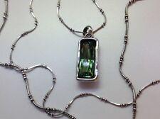 """NWT Uno de 50 Silver-Plated Necklace w/ Green Crystal """"Aurora Borealis"""""""