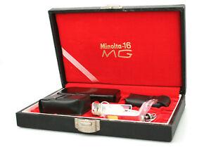 Minolta 16 MG Subminature 16mm Camera - Presentation Case, Flash, Cases + Extras