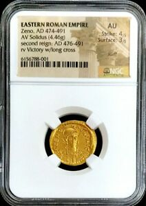 474- 491 AD GOLD EASTERN ROMAN EMPIRE ZENO SOLIDUS VICTORY COIN NGC AU 4/3