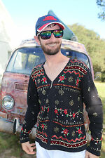 M Medium UGLY Christmas Sweater Party Cardigan Erika BLING Sequins Mens / Womens