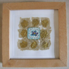 Handmade Contemporary Art Gold Leaf & Blue Flower Mounted & Framed Wall Hanging