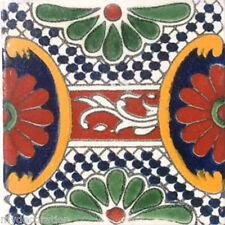 C#046) MEXICAN TILES CERAMIC HAND MADE SPANISH INFLUENCE TALAVERA MOSAIC ART