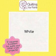 "40 x 5"" White PreCut Fabric Charm Squares, 5 inch, 5"" x 5"", Cotton"