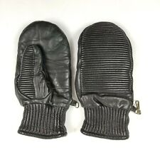 Mens Vintage Black Leather Driving Gloves Sz  M Ribbed Motorcycle, Car, Mittens