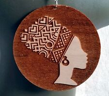 Lagre Natural Wooden Engraved Earrings African Woman Headwrap Silhouette