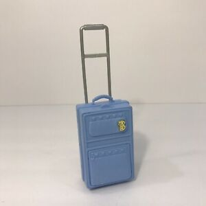"""Vintage 1997 Mattel Barbie Doll Accessory Blue """"Rolling"""" Suitcase Luggage 4"""" Toy"""