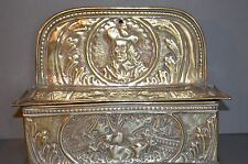 Antique 19th Century Dutch Brass Hanging Candle Box,Embossed Decoration,c 1870