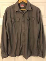 Wrangler Mens Grey Shirt Size Large Button Front Long Sleeve Flap Pockets