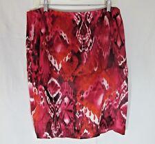 Speigel Silk Pencil Skirt Red Batik Tie Dye Pattern Womens 14