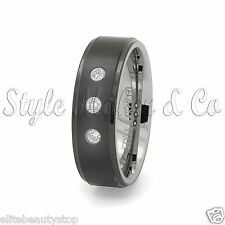 Tungsten Carbide Ring Wedding & Anniversary Band 3 Stones - Sizes- 7-13