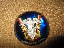GOLD TONE*USN US NAVY*Globe*BROOCH PIN glass shield sword eagle military medal