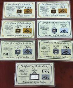 Lot  7 Lingotins or, palladium,platine et argent  American Certified Bullion