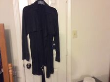 New Rock & Republic black rayon poly trench coat style long sleeve 2 pocket coat