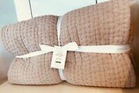 Pottery Barn Stonewashed Pick Stitch Quilt Set Soft Rose Queen No Shams New