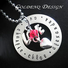 Personalised Birthday Gift Family Names Love Heart Birthdstones Necklace D115