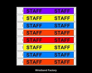 100 x Tyvek Staff Wristbands For Disco Pool Party Security Rave Sport Event