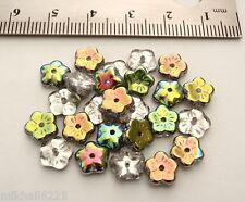 25 8 x 3 mm Flat Flower Beads: Vitrail - Crystal