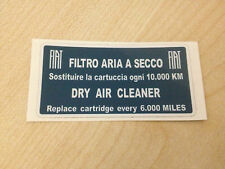 New Reproduced Fiat 500 X1/9 X19 Air Filter Label for Housing 128 127 126 131
