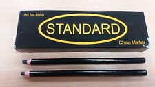 6 GOOD QUALITY BLACK CHINAGRAPH CHINA MARKERS PENCILS WRITE ON METAL PLASTIC UK