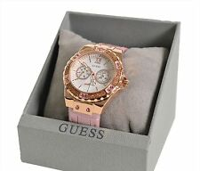 Guess Ladies Watch W0775L3 - Rose Gold Plated with Crystal Bezel and Pink Strap