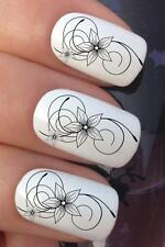 WATER NAIL ART BLACK FRENCH FLOWER LACE SWIRL TRANSFERS DECALS STICKERS *686
