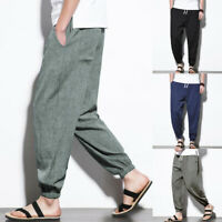 Mens Cotton Linen Long Trousers Japanese Style Casual Harem Pencil Pants Slacks