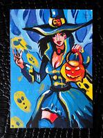 "Original art by Bastet ""Halloween Girl"" OOAK hand painted ACEO"