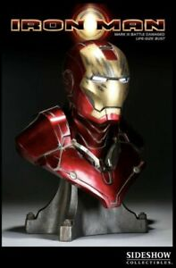 SIDESHOW IRON MAN EXCLUSIVE BATTLE DAMAGED 1:1 SCALE LIFE-SIZE BUST 24 INCHES