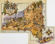 New York Antique Vintage Pictorial Map  (Postcard size)