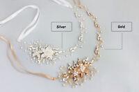 Diamante Headband Crystal Wedding Gown Accessories Pearls Bridal Hair Vine Halo