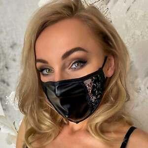 NOIR HANDMADE Wetlook Mund-Nasen-Maske mit modischem Spitzen-Einsatz CLUBWEAR