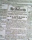 GEORGE WASHINGTON John Adams & Thomas Jefferson Act of Congress 1794 Newspaper