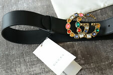Authentic GUCCI CRYSTAL Black belt GOLD GG Marmont Buckle sz 90 / 36 fits 30-32