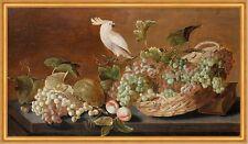 Still life with parrot Roelof Koets Stillleben Trauben Papagei Vogel B A2 03183