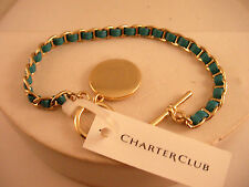 Charter Club Gold Chain Link Bangle Bracelet Blue Leather Band Metal Charm