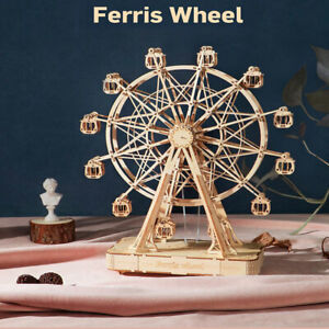 232pcs Rotatable DIY 3D Ferris Wheel Wooden Puzzle Game Assembly Music Box  HF